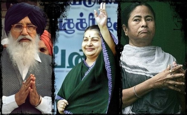 Some of India's 'little leaders' (from left to right): Punjab Chief Minister Parkash Singh Badal, Tamil Nadu CM J Jayalalitha, and West Bengal CM Mamata Banerjee