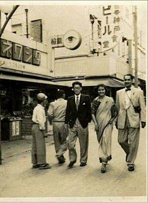 The writer's parents on a Japanese street, 1952.