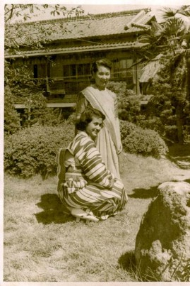 The writer's mother in a kimono, with her Japanese friend in a sari, Japan, 1952.