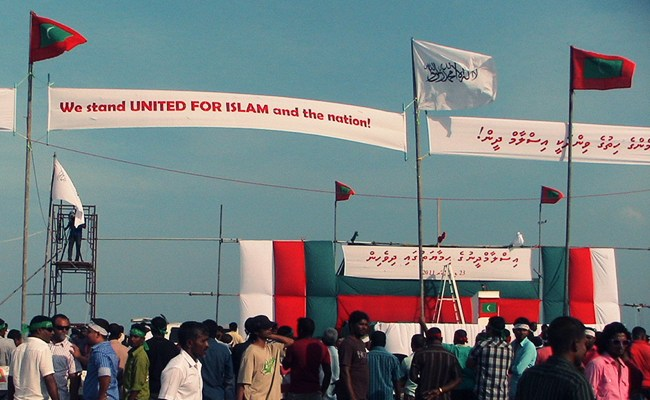 Maldivians protest in support of Islam, 23 December 2011.  Photo: thadu83, flickr.