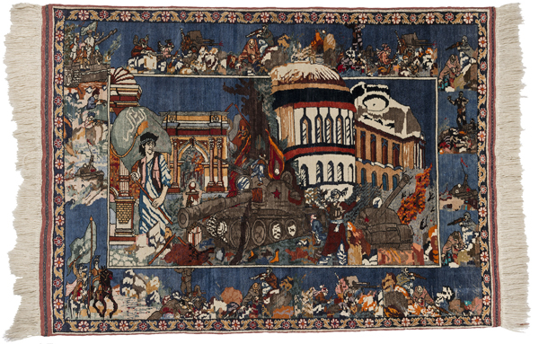Carpet celebrating the defeat of the Soviets, circa 1992. Wool and silk, dimensions 1180 x 1630 (1840). Collection Sabur Fahiz, Canberra. Photo: Rob Little.