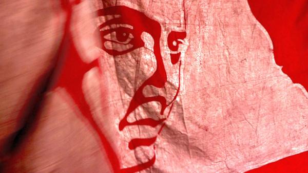 Banner depicting radical poet Avtar Singh Sandhu, known by his pen name 'Pash'. / Courtesy Sanjay Kak