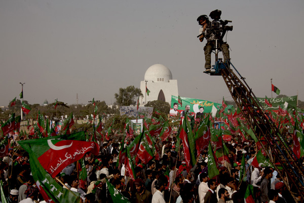 A 2011 PTI rally in Karachi. As Pakistan urbanises, the political landscape is becoming trickier for the military to navigate.  Flickr / Musti Mohsin