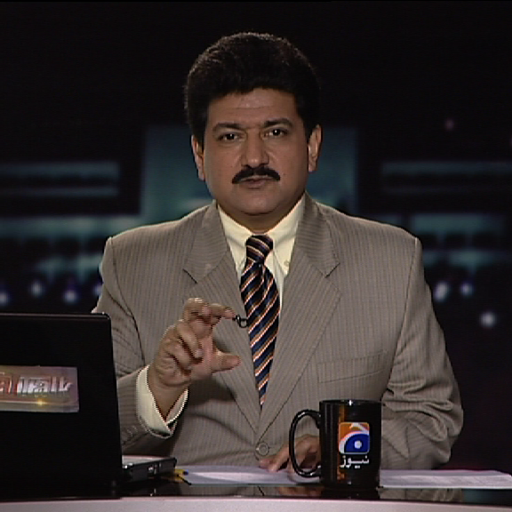 Hamid Mir in a TV studio Source: Wikimedia Commons