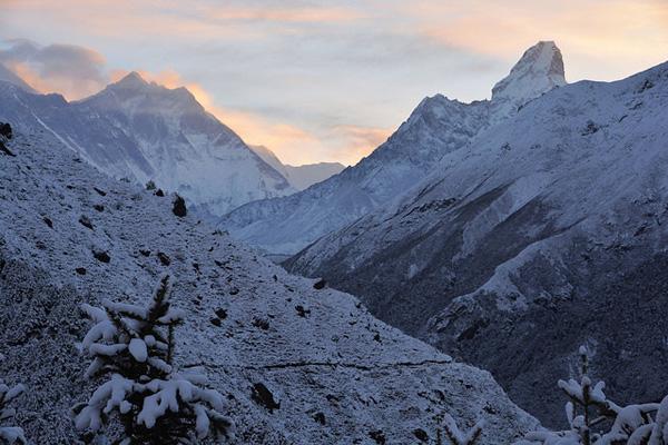 Sagarmatha National Park after snowfall, looking towards the Khumbu valley.  Photo:  Davide Zanchettin