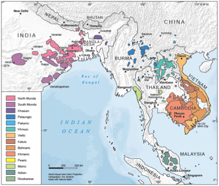 Geographical distribution of Austroasiatic.