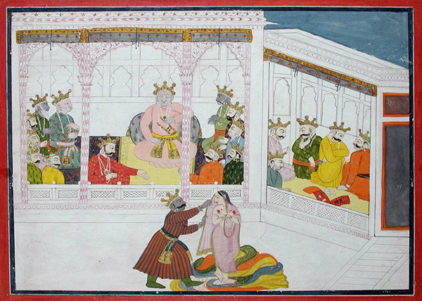 """Caption: """"Dunyodhana tries to remove Draupadi's clothing"""" Credit: The San Diego Museum of Art/ Flickr"""