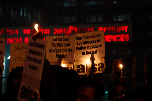 A candlelight vigil organised by civil society groups for Sodi Shambo, who was denied access to the press, activists and even her lawyer while she received treatment at All India Institute of Medical Sciences in Delhi in 2010. Flickr / Joe Athialy