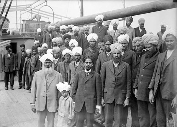 Sikhs from India on the Japanese steamship Komagata Maru in Vancouver, Canada.