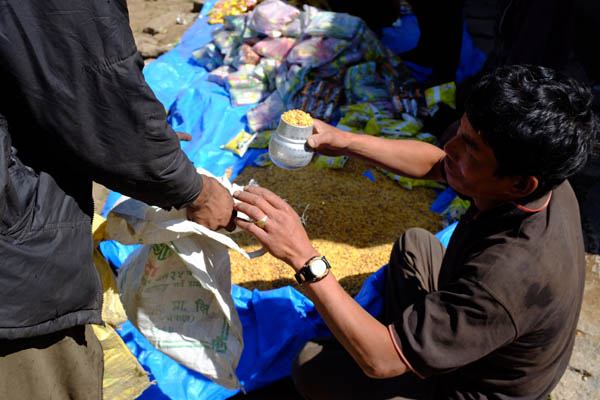 A 'mana' of daal that is given to each household as part of the relief supply. Photo: Rune Bennike