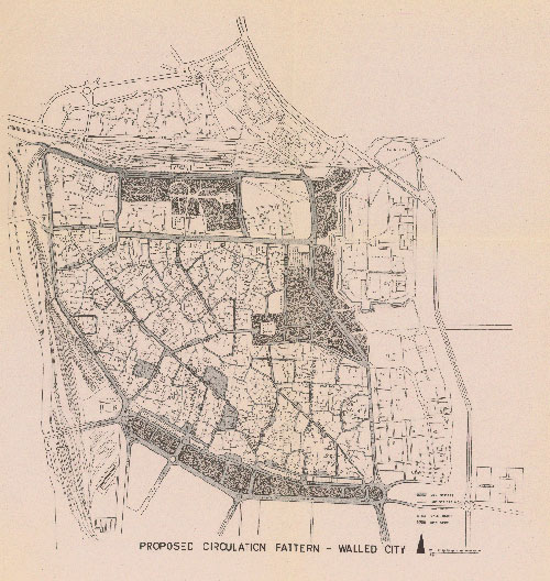 Circulation Plan for the Old City of Delhi, Ford Foundation Team—Delhi (1960). Image: Delhi State Archives.