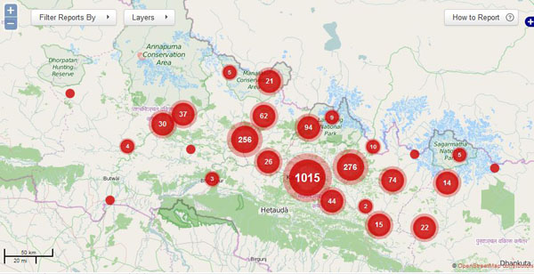 An interactive map in Quakemap.org showing the number of reports originating from earthquake-hit areas. Photo: Quakemap.org