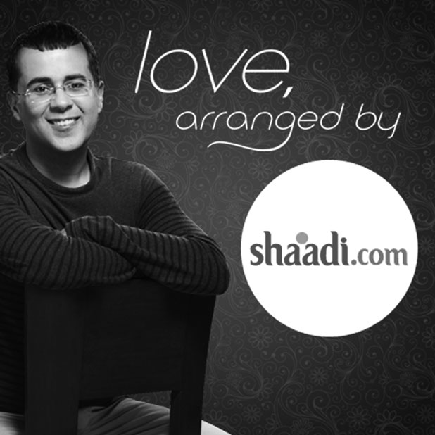 Author Chetan Bhagat, in an advertisement for Shaadi.com
