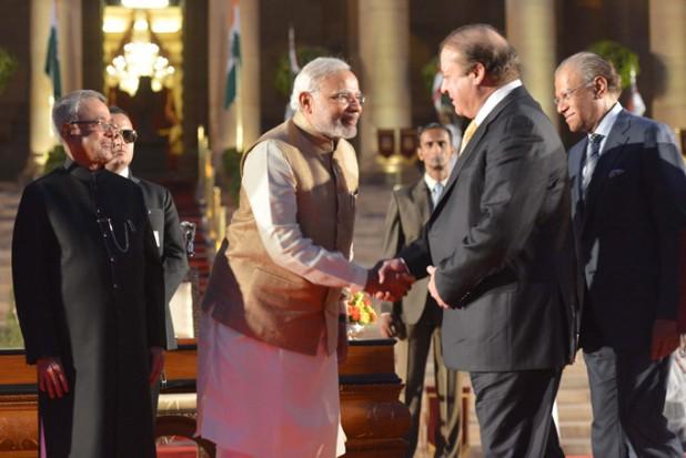Handshake between Narendra Modi and Nawaz Sharif Photo : Wikimedia Commons