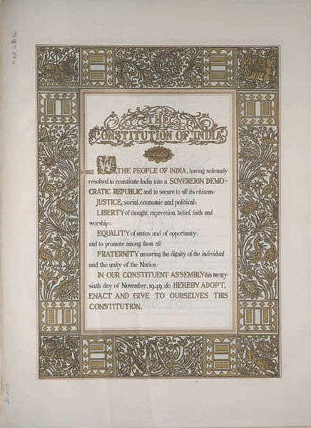 The original text of the Preamble and artwork of Beohar Rammanohar Sinha, before the 42nd Amendment of the Constitution Photo : Wikimedia Commons