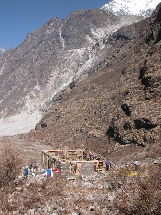 A house being built with the help of Dutch volunteers in Langtang Village. Photo: Rabi Thapa