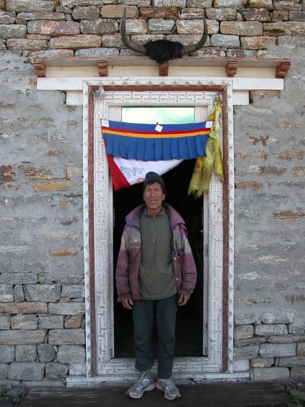 "Tenzin ""Gyalpo"" Lama, proprietor of the Tibet Guest House, Khangjim (2,280m). Gyalpo hopes that more Langtang trekkers will take the higher, more scenic route that passes through Khangjim. Photo: Rabi Thapa"