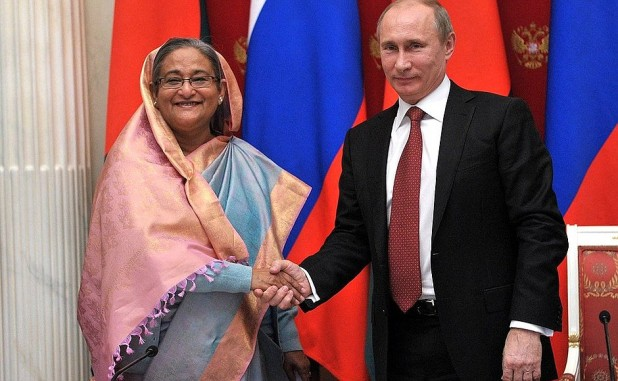 Bangladesh Prime Minister Sheikh Hasina and Russian President Vladimir Putin during the Russia-Bangladesh talks in January 2013 where the construction of the Rooppur nuclear power plant was discussed. Photo: en.kremlin.ru