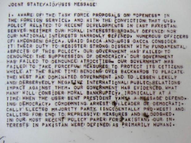 Detail of Reproduction of the Blood Telegram from 1971 Genocide - Liberation War Museum - Dhaka - Bangladesh Flickr/Adam Jones