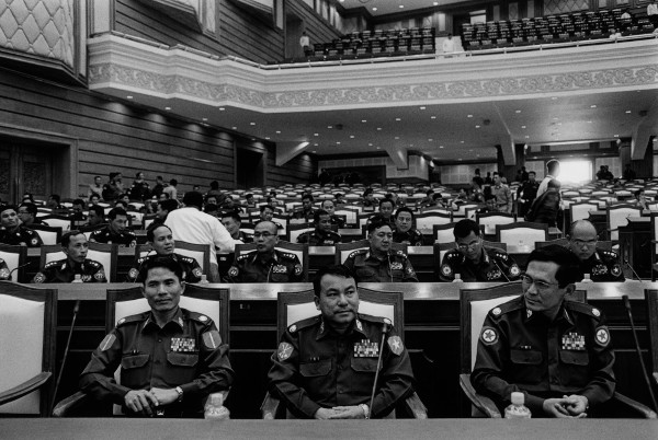 The unelected in Burma's new parliament. Military commanders take their positions in the new parliament building. The Pyithu Hluttaw, or lower house of Burma's parliament, is dominated by former soldiers, their positions guaranteed under a constitution which was ratified after a fraudulent referendum in 2008. Photo: Nic Dunlop
