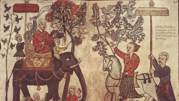 """The king of Cambay (in present day Gujarat) from """"Figurae variae Asiae et Africae,"""" a 16th-century Portuguese manuscript in the Casanatense Library in Rome. Photo: Codex Casanatense 1889"""
