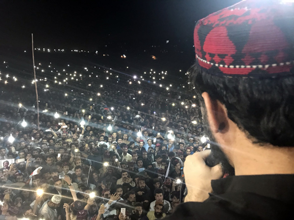 Manzoor Pashteen, the leader of Pashtun Tahafuz Movement (Movement for the Protection of Pashtuns, or PTM) speaking at a rally in Karachi in May 2018. Photo: @PashtunTahafuz / Twitter