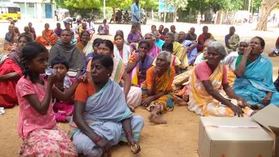 Women gather for a meeting at Pandarampatti village.