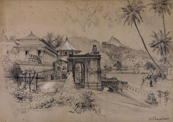 Pencil drawing of the Temple of the Tooth in Kandy, Sri Lanka, dated 18 April 1870, by Nicholas Chevalier. Photo: The British Library