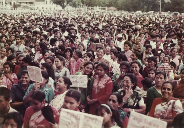 Women from all walks of life gather for a mass meeting in Kathmandu to submit a letter of protest to the government following the rape and murder of sisters Namita and Sunita Bhandari in Pokhara that rocked the country. Photo: Hisila Yami Collection/ Nepal Picture Library