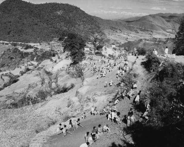 Women labourers working on the construction of Prithvi Highway in 1956. Photo: Nepal Picture Library