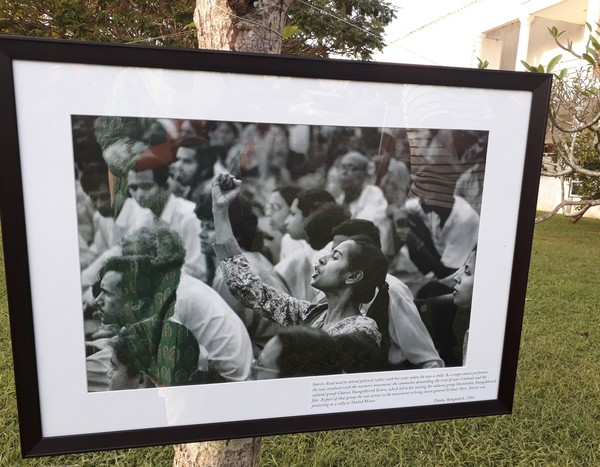 Shahidul Alam's iconic image of singer and performer Smriti Azad protesting at a rally at Shaid Minar in 1994