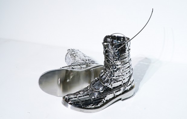 Tayeba Begum Lipi, The Colombian Boots, Stainless Steel. Courtesy Shrine Empire