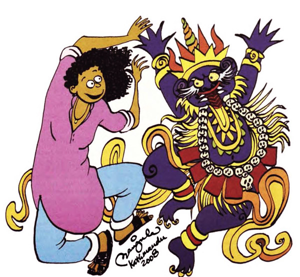 Illustration by Manjula Padmanabhan. From From 'Himal Southasian's' Cartoon Congress Issue published in December 2008.