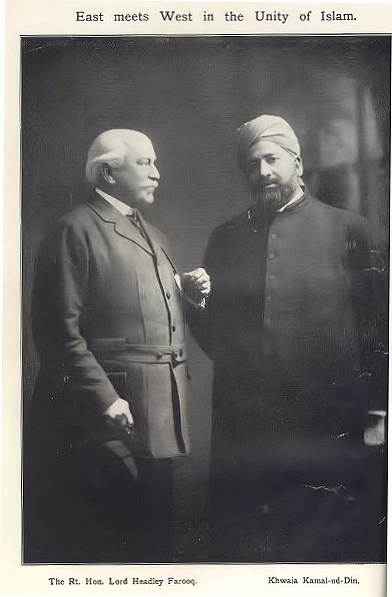 Lord Headley with Khwaja Kamal-ud-Din, 1913 Photo: Ahmadiyya Anjuman Isha'at Islam Lahore (U.K.)
