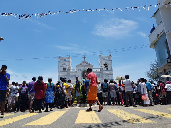 Outside St Anthony's Church, Kochchikade, in Colombo, one of the sites of Easter Sunday attacks. Photo: Amalini De Sayrah / Groundviews