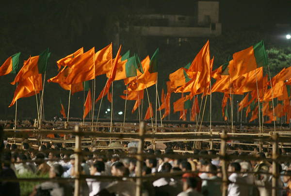 Flags of the Bharatiya Janata Party (BJP) and Shiv Sena on display during an election rally in Mumbai in 2008. Photo: Al Jazeera English / Flickr
