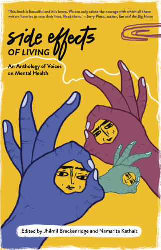 From the cover of 'Side Effects of Living'. Illustratin and design by Sonaksha Iyengar.