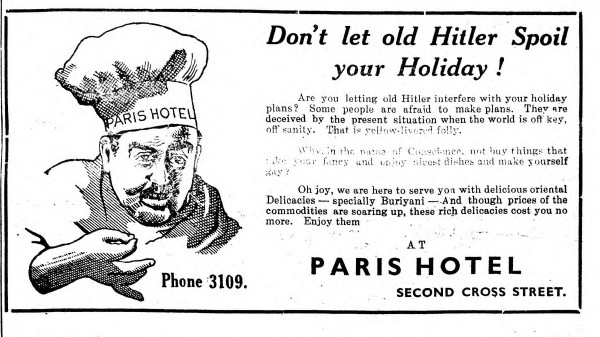An ad for the Paris Hotel in Pettah. February, 1940. Photo: Sri Lanka Malay Association and South Asia Open Archive