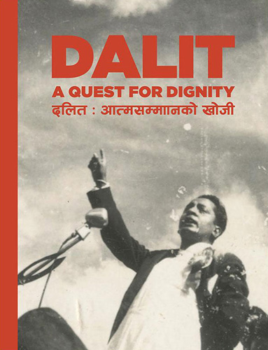 From the cover of 'Dalit: A Quest for Dignity'. T R Bishwakarma gives a speech after the arrival of Muluki Ain 2020. The developmental and anti-discriminatory agendas of the new Panchayat government were welcomed by the Dalit activists as progress on the issue of caste. By the 1980s, Bishwakarma preferred a more radical path to Dalit emancipation. Kathmandu, 1963. Photo: Mithai Devi Bishwakarma / Nepal Picture Library