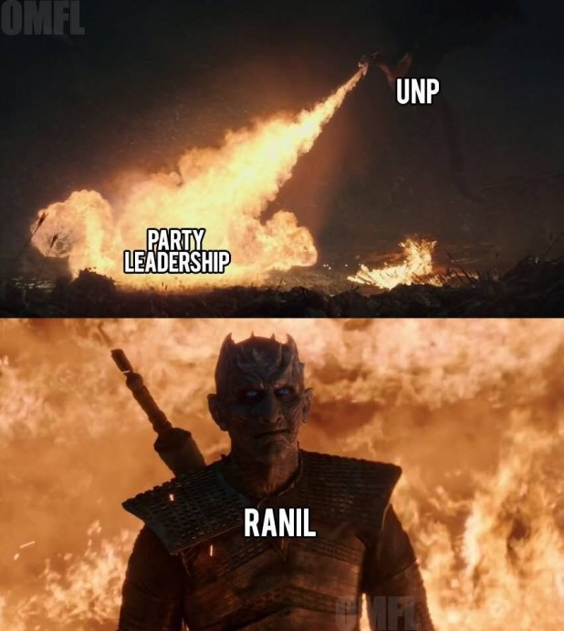 Despite facing numerous crises, prime minister and UNP leader Ranil Wickremesinghe emerges relatively unscathed, not unlike the Night King in the popular series Game of Thrones.<br /> Image: OMFL II – the Sequel / Facebook