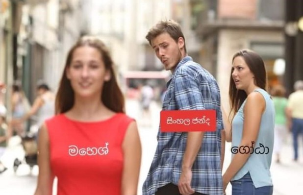 In this twist on the globally popular 'Distracted Boyfriend' meme, the admiring boy is labelled as the 'Sinhala vote'. The girl in the foreground is Mahesh Senanayake, another presidential candidate who has caught the voter's attention – while the indignant girl is labelled Gotabhaya. Images: Sri Lankan Memes / Facebook.com